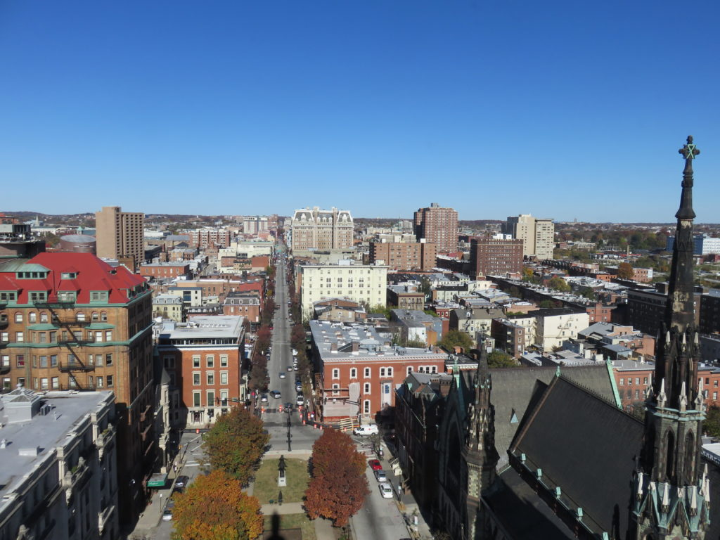 View from Washington Monument, Inner Harbor Baltimore Maryland
